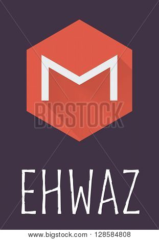 Ehwaz rune of Elder Futhark in trend flat style. Old Norse Scandinavian rune. Germanic letter. Vector illustration.