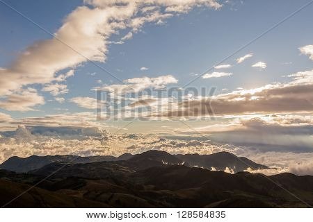 Cloudscape At Sunset At High Altitude In Andean Mountain South America Cordillera
