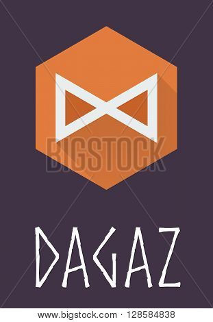 Dagaz rune of Elder Futhark in trend flat style. Old Norse Scandinavian rune. Germanic letter. Vector illustration.