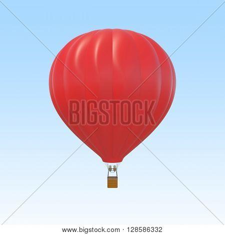 Red air ballon on sky background. 3d illustration