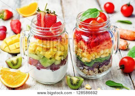 homemade rainbow salads with vegetables quinoa Greek yogurt and fruit