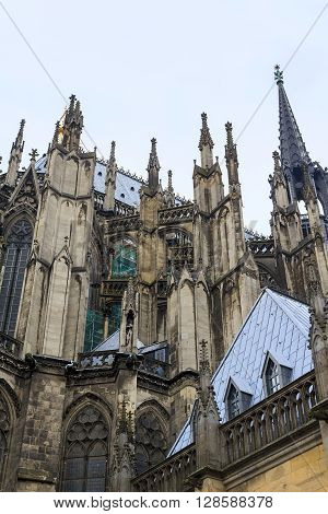 Cologne, Germany - May 16: This is fragment of the buttresses of the cathedral of Cologne demonstrating the delicacy of Gothic architecture May 16, 2013 in Cologne Germany.