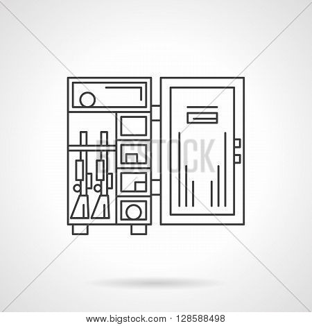 Lockers, safes and storages. Open armor box with guns and ammunition. Weapon accessories and equipment. Flat line style vector icon. Single design element for website, business.
