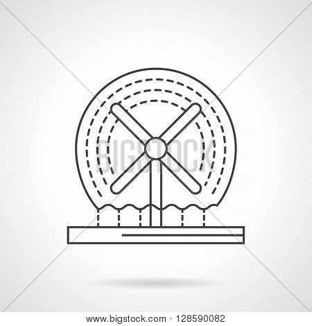 Decorative architecture elements. Fountains and small structures. Dynamic rotating fountain. Flat line style vector icon. Single design element for website, business.