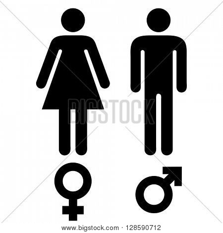 simple black and white male and female human symbols
