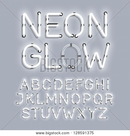 White Neon Glow alphabet vector illustration