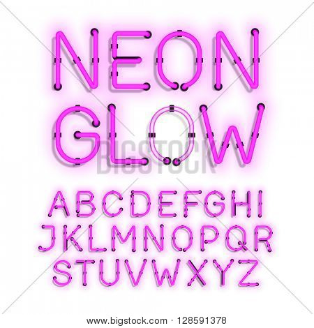 Neon Glow alphabet on white background vector illustration