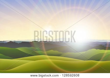 Vector horizontal landscape background with green hills and misty mountains and flare lights in the evening.