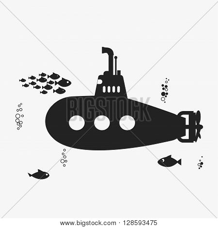 Submarine with periscope, underwater fishes and bubbles. Black color silhouette Flat design. Vector bathyscaphe