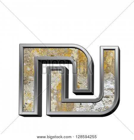 Sheqel sign from old concrete with silver frame alphabet set isolated over white. 3D illustration.