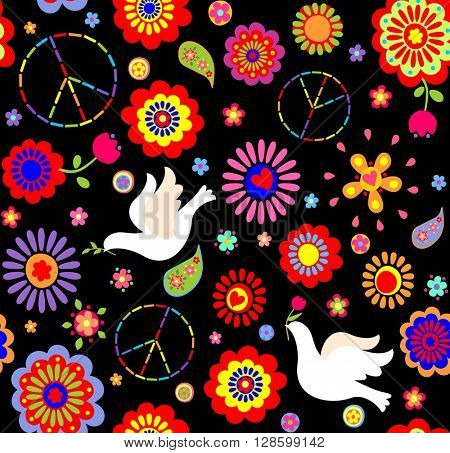 Childish wallpaper with hippie symbolic and doves