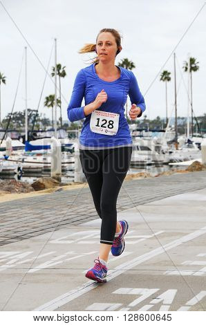 Long Beach California/USA-April 30 2016: Runner Running in the March for Marrow 5k Race