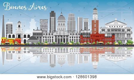 Buenos Aires Skyline with Color Landmarks, Blue Sky and Reflections. Vector Illustration.