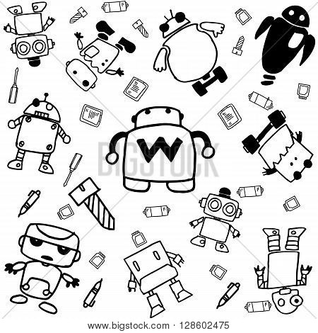 set of robot doodle art with black and white bakcgrounds
