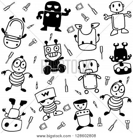 Robot happy of doodle art with black and white backgrounds