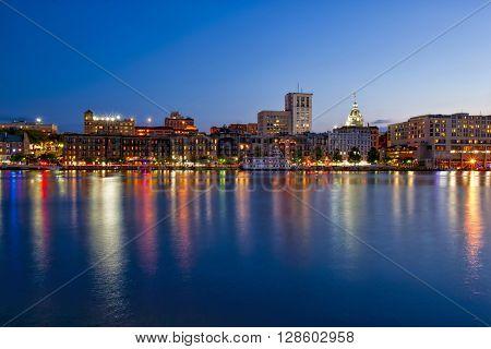 Savannah, Georgia along the waterfront at night