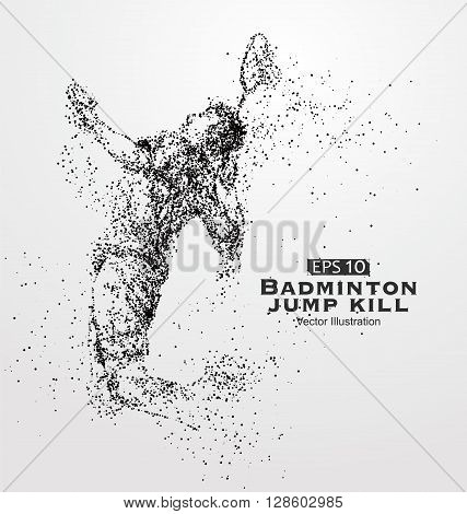 Smash badminton playersVector graphics composed of particles.
