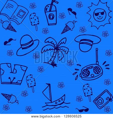 summer of doodle with blue backgrounds for kids