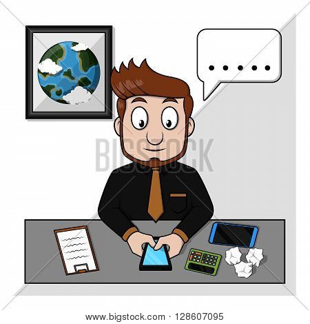 Business man chatting on handphone. eps10 editable vecor illustration design