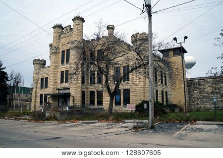 JOLIET, ILLINOIS / UNITED STATES - JANUARY 1, 2013:  The former women's building of the old Illinois State Penitentiary was built in 1896.