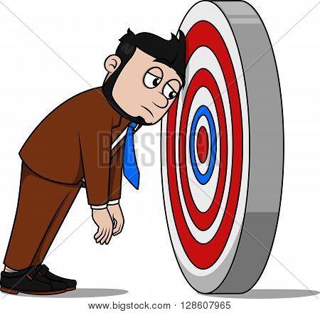 Business man missing target  illustration design Business man missing target  illustration design