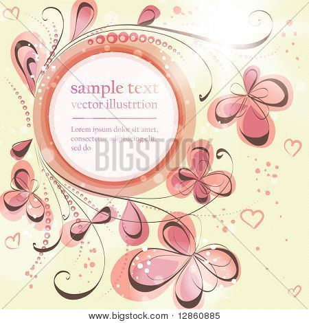 Cute floral seamless background with abstract hand drawn flowers, leafs and hearts for design. eps 10