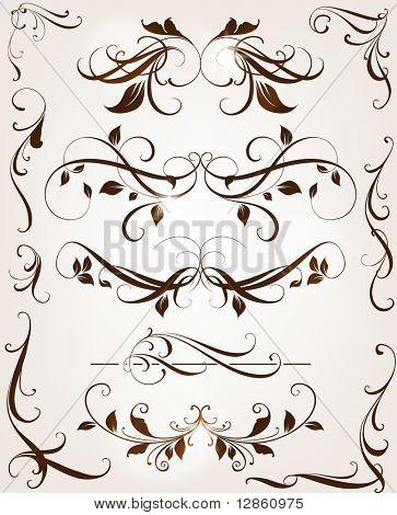 Satz von Windung floralen Ornamente für retro-Design. mit leafs und Blumen.