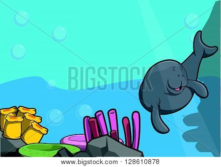 Sea manatee illustration under water scenery .eps10 editable vector illustration design