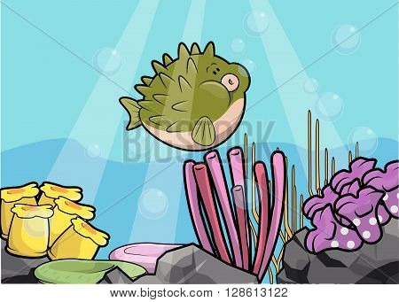 Puffer fish underwater scenery .eps10 editable vector illustration design