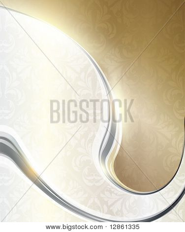 Luxury greeting card with seamless ornament with leafs and flowers. Vector