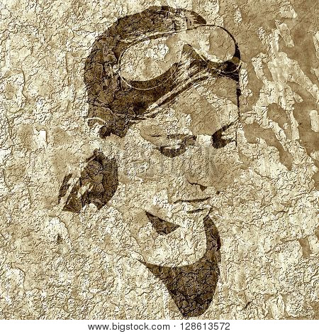 Portrait of pretty young teen girl. Concrete wall textured. Monochrome gamma.