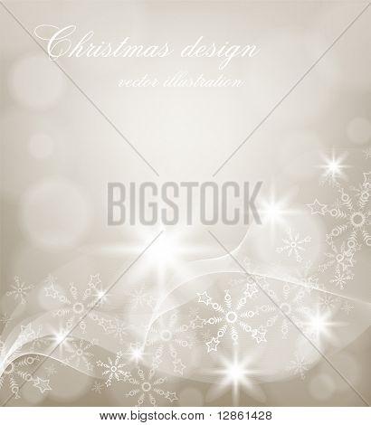 Resumen tarjeta de Navidad con copos de nieve blancas y luces