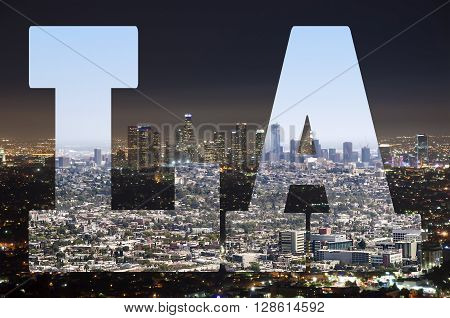 Los Angeles panorama during a day and a night
