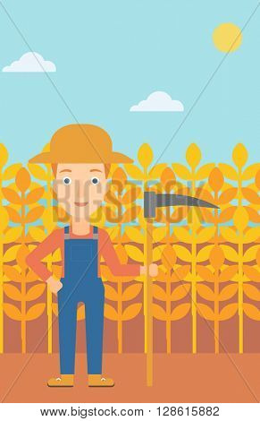 Farmer on the field with scythe.