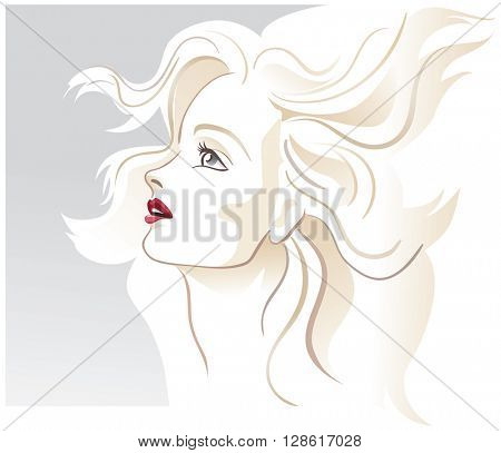 Fashion hairstyle woman model. Blonde, beautiful, profile. Light pastel colors. Vector illustration