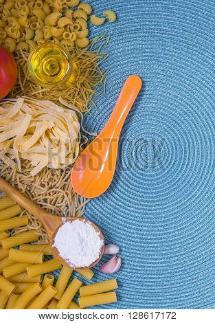 mixed pasta, dried pasta, pasta selection, pasta top view, Raw pasta, various pasta, blue background