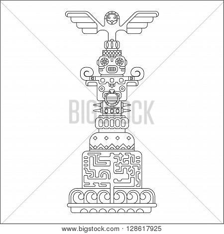 geometric black outline ethnic totem pole, vector illustration