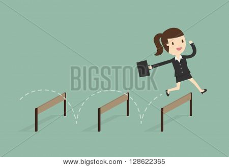 Business woman Jumping Over Hurdle. Business Concept Cartoon Illustration.
