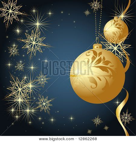 Merry Christmas and Happy New Year background with golden balls, snowflakes and ribbon