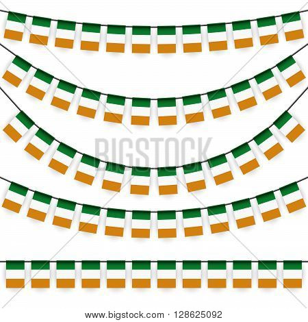 different garlands with national colors of irish flag