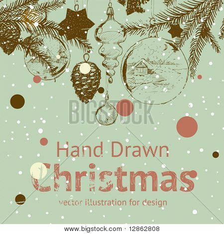 Christmas hand drawn fur tree for xmas design. With balls, toys and fir-cone.