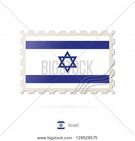 Postage Stamp With The Image Of Israel Flag.