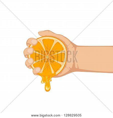 Hand squeezes fresh ripe orange isolated on white background, illustration.