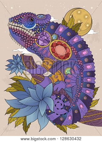 adult coloring page - chameleon bedecked with jewels