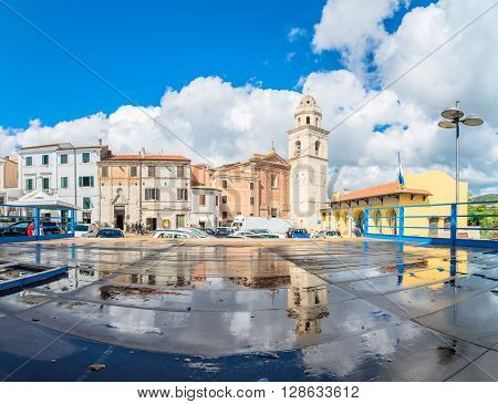 Sirolo, Italy - August 20, 2016: street view with tourists in Sirolo Italy. Sirolo village features a medieval town centre which culminates in a square with view on the adriatic sea and on Mount Conero.