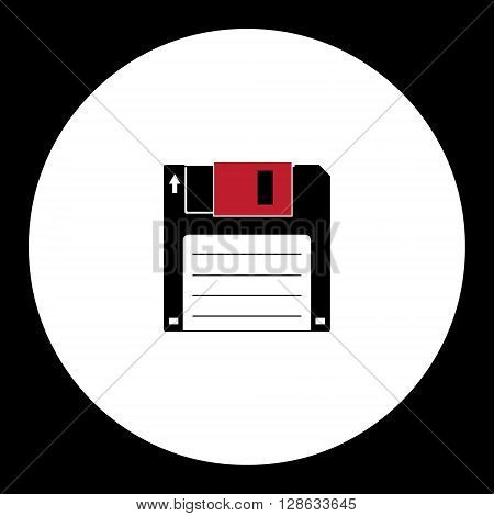 Old Floppy Disc For Computer Simple Isolated Icon Eps10