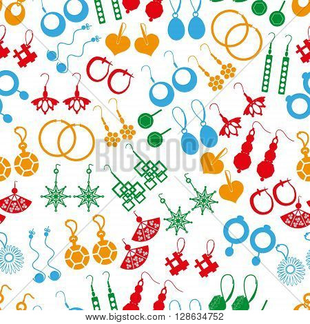 Various Color Ladies Earrings Types Seamless Pattern Eps10