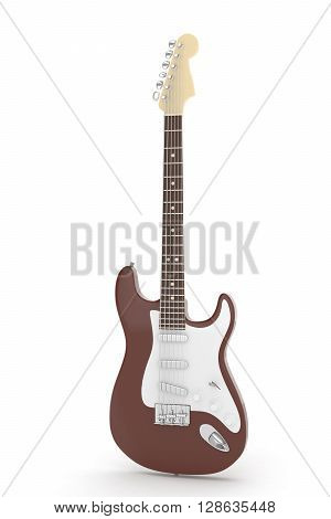 Isolated brown electric guitar on white background.  Musical instrument for rock, blues, metal songs. 3D rendering.