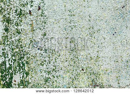 Peeling paint texture. Old green grunge background with peeling paint. Peeling paint with cracks.