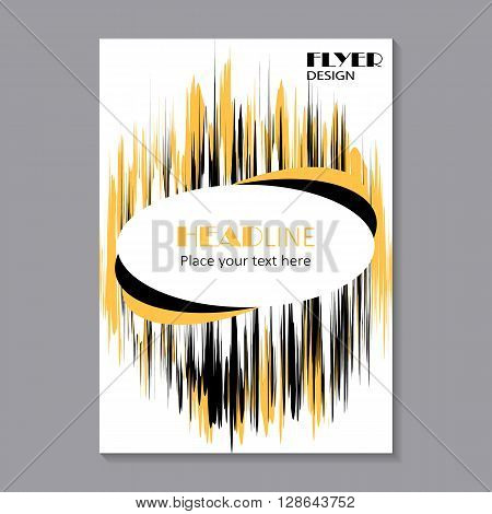 Business brochure flyer design layout template in A4 size. Sound waves oscillating. Abstract technology background  with oval banner for your text. Vector illustration.